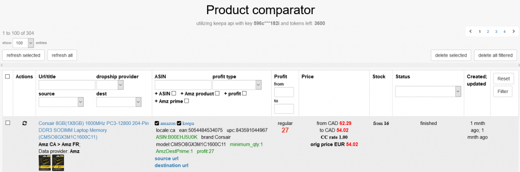 модуль сравнения цены (price product comparator module)